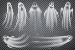 Satz realistische Geister lokalisiert auf transparentem Hintergrund Stockfotos