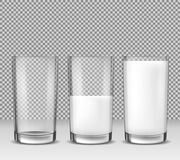 Satz realistische Illustrationen des Vektors, Ikonen, Glasgläser leeren sich, halb voll und voll von der Milch, Milchprodukt Stockfoto
