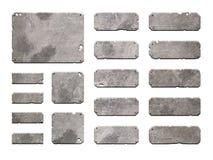 Satz realistische Metallschnittstellenknöpfe Stockfoto