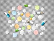 Satz realistische Pillen und Kapseln des Vektors auf transparentem Hintergrund Haufen von Medizin, Tabletten, Kapseln lizenzfreie abbildung