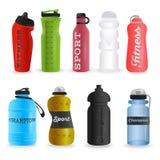 Satz realistische Sportwasserflaschen stock abbildung