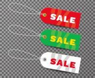 Satz realistische Tags für Verkauf Tags für Verkauf mit Textverkauf Re stock abbildung
