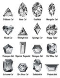 Satz realistische weiße Diamanten mit komplexen Schnitten Stockfotos
