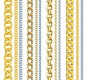 Satz realistisches Gold und Silberketten Lizenzfreie Stockfotografie