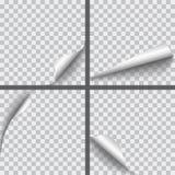 Satz realistisches Papier des Vektors kräuselte Ecken mit Schatten isolat stock abbildung