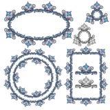 Satz rechteckige, ovale und runde Rahmen Stockbild