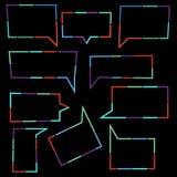 Satz Rede sprudelt lineare Ikonen von bunten punktierten Linien lizenzfreie abbildung