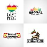 Satz Reggaemusik-Vektordesign Liebe und Frieden Stockfotografie