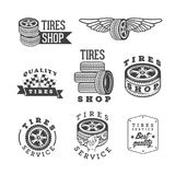 Satz Reifenshops und Service-Embleme, Vektorgestaltungselemente stock abbildung