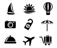 Satz Reise- und Tourismusikonen Stockbild