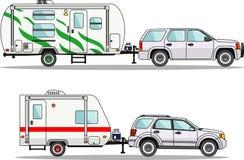 Satz Reiseanhängerwohnwagen auf einem Weiß Lizenzfreies Stockbild