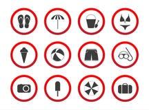 Satz Reiseverbotikonen, Strandbeschränkungszeichen, Ikone s Lizenzfreie Stockbilder
