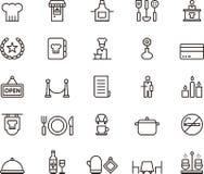 Satz Restaurant-Ikonen oder Symbole Lizenzfreie Stockfotografie