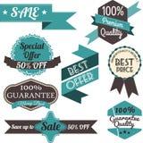 Satz Retro- Aufkleber und Fahnen Verkauf Auch im corel abgehobenen Betrag Lizenzfreie Stockbilder