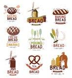 Satz Retro- Bäckerei- und Brotlogo, Aufkleber, Ausweise und Gestaltungselemente Stockbild