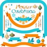 Satz Retro- Bänder und Aufkleber mit Weihnachten Lizenzfreie Stockfotografie