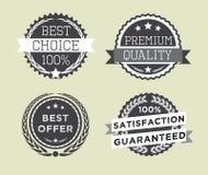 Satz Retro- erstklassige Qualität der Weinlese wird und Aufkleber deutlich Lizenzfreies Stockbild