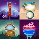 Satz Retro- Illustrationen der Landschaft mit Beleuchtungsneonfahnen für annoncieren Brett für Motel und Shop vektor abbildung