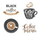 Satz Retro- Kaffee der Weinlese wird und Aufkleber deutlich Auch im corel abgehobenen Betrag Lizenzfreie Stockfotografie