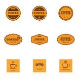 Satz Retro- Kaffeeaufkleber Stockbilder