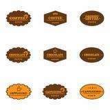Satz Retro- Kaffeeaufkleber Stockfoto
