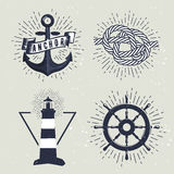 Satz Retro- Seeaufkleber Auch im corel abgehobenen Betrag Lizenzfreie Abbildung