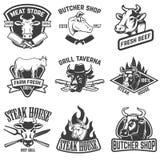 Satz Rindfleischfleisch, Steakhausembleme Gestaltungselemente für Logo, Stockfoto