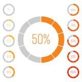 Satz Ringkreisdiagramme mit Prozentsatzwert Leistungsanalyse in Prozent Moderner Vektor grau-orange infographic stock abbildung