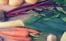 Satz rohes Gemüse für gesunde Ernährung, Porree, rote Rüben, Kartoffeln, Lizenzfreie Stockfotos
