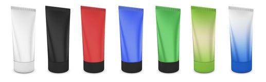 Satz Rohre für Creme von verschiedenen Farben Lizenzfreies Stockbild
