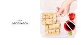 Satz Rollenessstäbchen für Wasabi-Sojasoßenmuster Ingwer der Sushi in der Hand stockbild