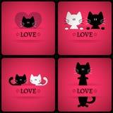 Satz romantische Karten des Vektors mit zwei netten Katzen Lizenzfreies Stockfoto