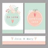 Satz romantische mit BlumenHochzeit, Babyparty, Glückwunschkarten Stockfotografie