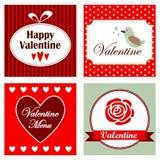 Satz romantische Valentinsgrußeinladungskarten, Illustration Stockfoto