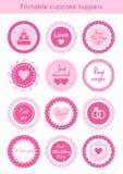 Satz rosa Deckel des kleinen Kuchens, Aufkleber für die Heirat Lizenzfreie Stockfotos