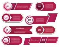 Satz rot-violetter Vektorfortschritt, Version, Schrittikonen Lizenzfreie Stockfotografie