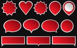 Satz rote Aufkleber auf dunklem Hintergrund Verschiedene Formen Lizenzfreie Stockfotografie