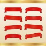 Satz rote Bänder und Fahnen Stockfotos