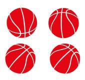 Satz rote Basketbälle Lizenzfreies Stockfoto