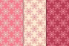 Satz rote Blumenverzierungen Kirschrosa vertikale nahtlose Muster Lizenzfreies Stockfoto