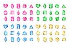 Satz rote des Vektors realistische, grüne, blaue, gelbe Edelsteine und Juwelen auf weißem Hintergrund Glänzende Mehrfarbendiamant vektor abbildung