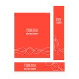 Satz rote Fahnen mit abstraktem Wellenkonzept Lizenzfreie Stockbilder