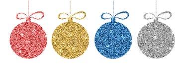 Satz rote, goldene, blaue, silberne Weihnachtsbälle Funkelnbereich mit metallischem Effekt Dekorative Schablone des Scheins vektor abbildung