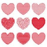 Satz rote Herzen für Design und Dekoration Lizenzfreies Stockfoto