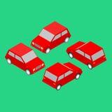 Satz rote isometrische Autos Stockfotografie