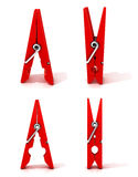 Satz rote Kleidungsstifte Geöffnet und geschlossen, stehend Lizenzfreies Stockbild