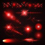 Satz rote Lichteffekte, Scheinwerfer, Blitz, spielt die Hauptrolle Lizenzfreie Stockbilder