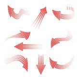 Satz rote Pfeile von den Kreisen Stockfotos