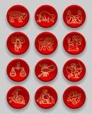 Satz rote runde Ikonen mit Goldlinearen zodiacal Zeichen lizenzfreie abbildung