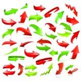 Satz rote und grüne Pfeile Stockfotografie